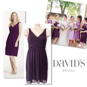 DAVID'S BRIDAL CHIFFON PLUM BRIDESMAID DRESS 4